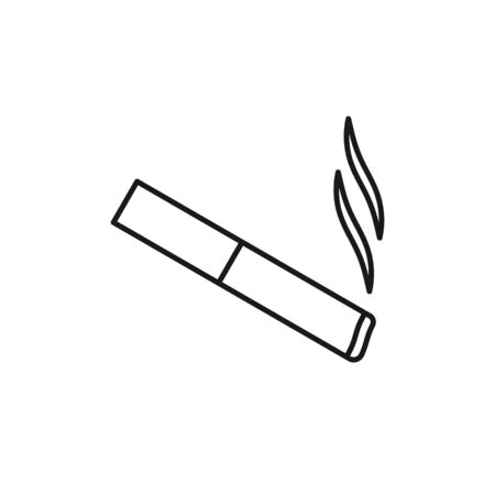 Black isolated outline icon of cigarette on white background. Line Icon of cigarette Illustration