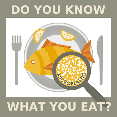 Plastic pollution, microplastic problem. Microplastic in the food. Ecological poster. Fried fish with micro plastic pieces and lemon on a plate. Vector fish dish top view with text