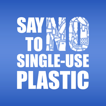 Say no to single-use plastic. Problem plastic pollution. Ecological poster. Banner with text and NO composed of white plastic waste bag, bottle on blue background