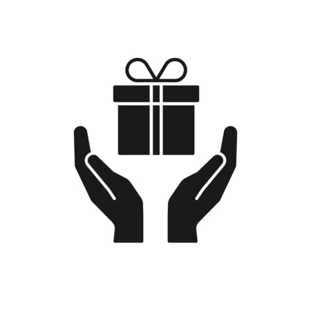 Black isolated icon of gift box in open hands on white background. Silhouette of gift box and two hands. Give, make a present