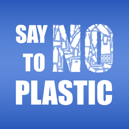 Say no to plastic. Problem plastic pollution. Ecological poster. Banner with text and NO composed of white plastic waste bag, bottle on blue background