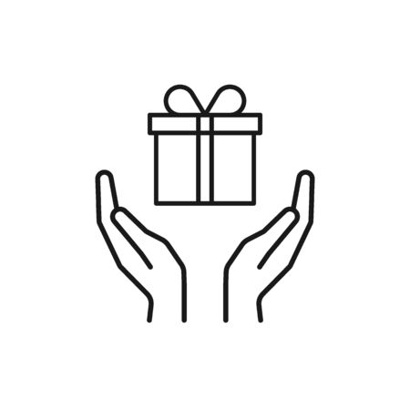 Black isolated outline icon of gift box in open hands on white background. Line icon of gift box and two hands. Give, make a present