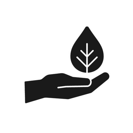 Black isolated icon of hand with leaf on white background. Silhouette of hand with leaf, plant