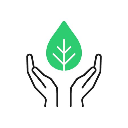 Isolated outline icon of green plant in black hands on white background. Line icon of leaf and open hands. Symbol of care, protection, charity Illustration