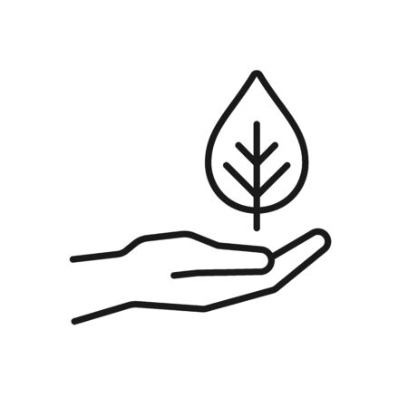 Black isolated outline icon of hand with leaf, plant on white background. Line Icon of hand with leaf, plant
