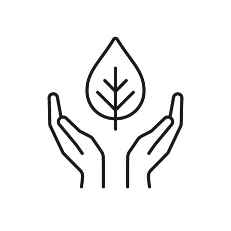 Isolated black outline icon of plant in hands on white background. Line icon of leaf and hands. Symbol of care, protection, charity