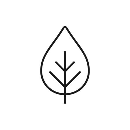 Black isolated outline icon of leaf, plant on white background. Line Icon of leaf. Bio, eco. Illustration