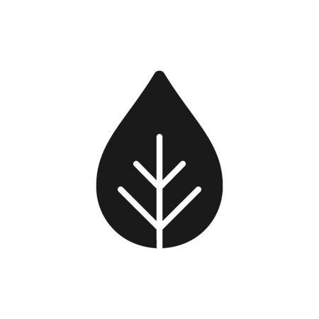 Black isolated icon of plant on white background. Silhouette of leaf. Flat design. Eco, bio. Illustration