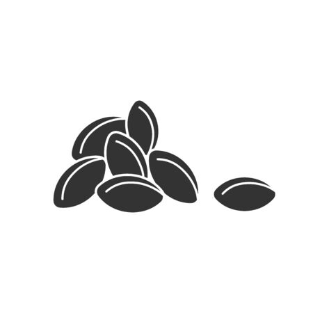 Black isolated icon of heap of grain on white background. Silhouette of grains of wheat. Illustration