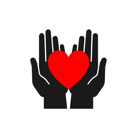Isolated icon of red heart in black open hands on white background. Silhouette of heart and hands. Symbol of care, love, charity. Illustration