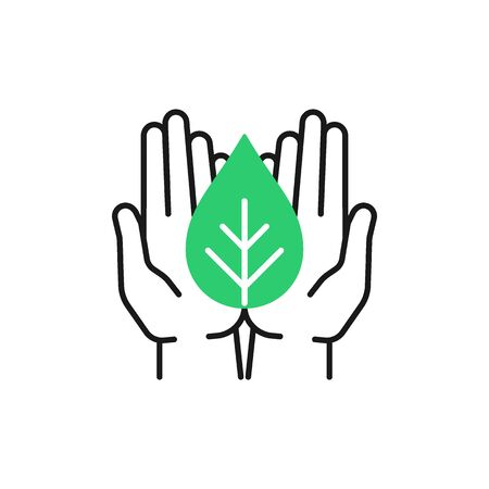 Isolated outline icon of green plant in black open hands on white background. Line icon of leaf and hands. Symbol of care, protection, charity.