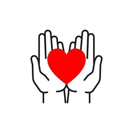 Black isolated outline icon of heart in open hands on white background. Line icon of red heart and hands. Symbol of care, love, charity.