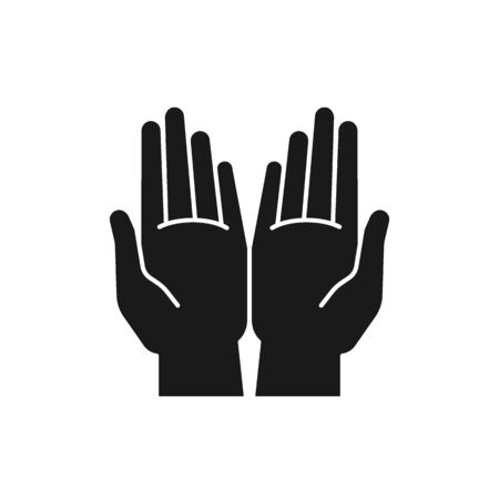 Black isolated icon of two open hands on white background. Silhouette of hands. Flat design.