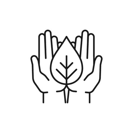 Isolated black outline icon of plant in open hands on white background. Line icon of leaf and hands. Symbol of care, protection, charity.
