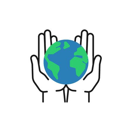 Isolated outline icon of green planet, earth in black hands on white background. Color globe and line hands. Symbol of care, protection. Save planet. Flat design.