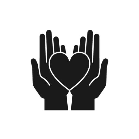 Black isolated icon of heart in 2 open hands on white background. Silhouette of heart and two hands. Symbol of care, love, charity.