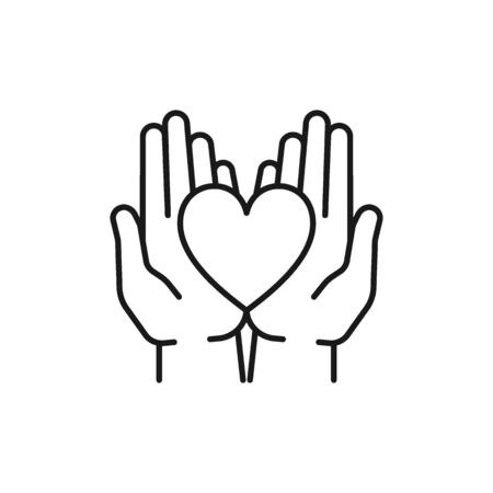 Black isolated outline icon of heart in hands on white background. Line icon of heart and two hands. Symbol of care, love, charity. Illustration