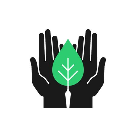 Isolated icon of green plant in black hands on white background. Silhouette of leaf and hands. Symbol of care, protection, charity.