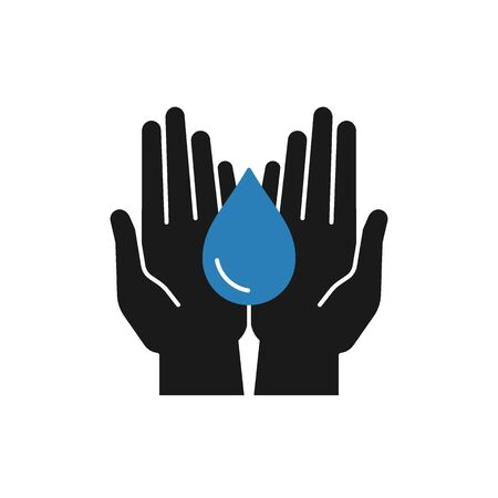 Isolated icon of water drop in open hands on white background. Silhouette of blue aqua drop and black hands. Symbol of care, charity. Save water. Flat design. Illustration