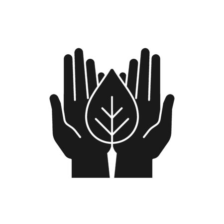 Black isolated icon of plant in hands on white background. Silhouette of leaf and hands. Symbol of care, protection, charity.