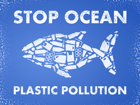 Stop ocean plastic pollution. Ecological poster Fish composed of white plastic waste bag, bottle on blue background