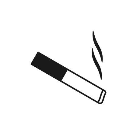 Black isolated outline icon of cigarette on white background Line Icon of cigarette Flat design