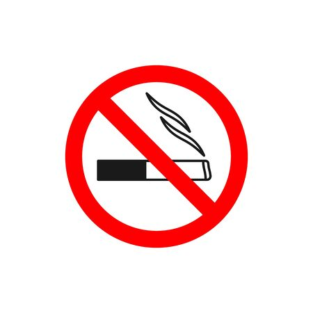 No smoking symbol. Black lines cigarette in red crossed circle. Forbidden sign with cigarette. Prohibition sign.