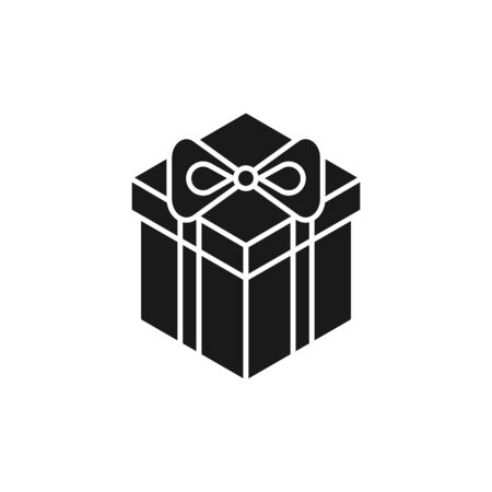 Black isolated icon of gift box on white background. Silhouette of isometric gift box. Flat design.