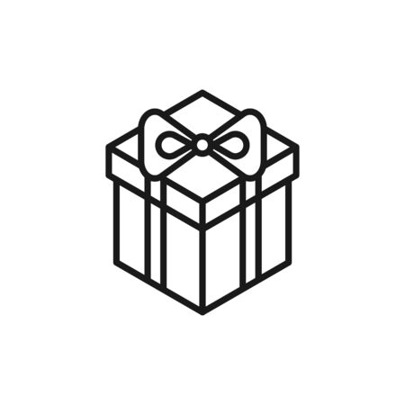 Black isolated outline icon of gift box on white background. Isometric line Icon of gift box.