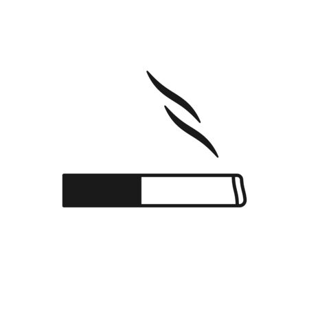Black isolated outline icon of cigarette on white background. Line Icon of cigarette. Flat design