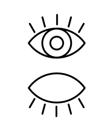 Black isolated outline icon of eye with eyelash on white background. Set of line Icon of open and closed eyes. Vision.