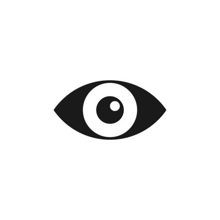 Black isolated icon of eye on white background. Icon of open eye. Vision Illustration