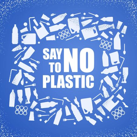 Say no to plastic. Problem plastic pollution. Ecological poster. Banner composed of white plastic waste bag, bottle on blue background
