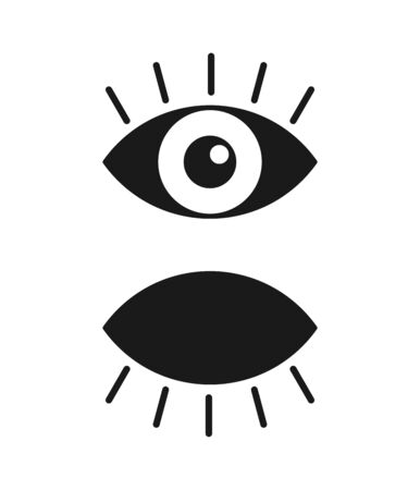 Black isolated icon of eye with eyelash on white background. Set of Icons of open and closed eyes. Vision