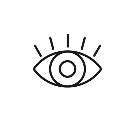 Black isolated outline icon of eye with eyelash on white background. Line Icon of open eye. Vision