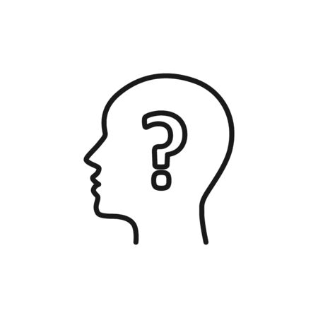 Black isolated outline icon of head of man and question mark on white background. Line icon of head of man and question mark. Symbol of idea, doubt. Flat design