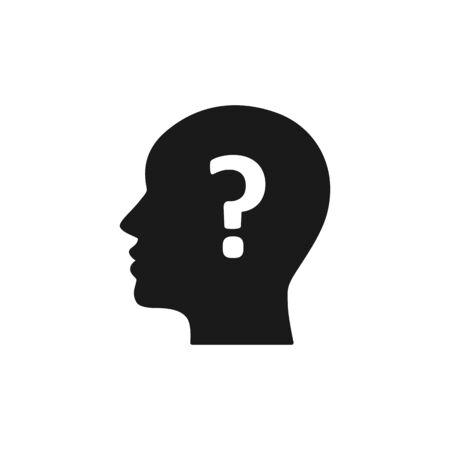 Black isolated icon of head of man and question mark on white background. Silhouette of head of man and question mark. Symbol of idea, doubt. Flat design