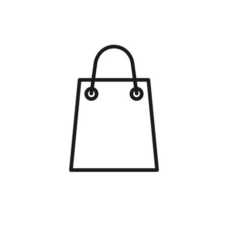 Black isolated outline icon of shopping bag on white background. Line Icon of package