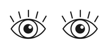 Black isolated outline icon of pair eyes with eyelash on white background. Set of line Icons of open and closed eyes. Vision