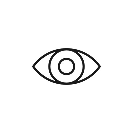 Black isolated outline icon of eye on white background. Line Icon of eye