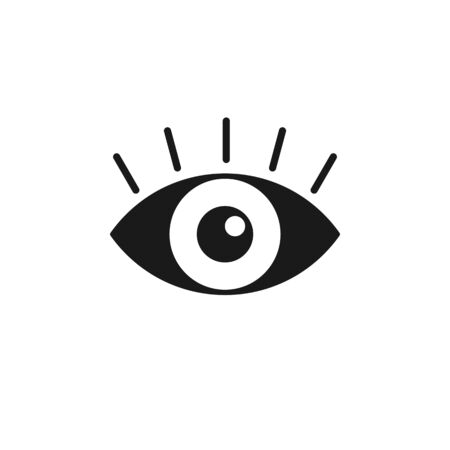 Black isolated icon of eye with eyelash on white background. Icon of open eye. Vision Illustration