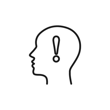 Black isolated outline icon of head of man and exclamation mark on white background. Line icon of head of man and exclamation mark. Symbol of idea. Flat design