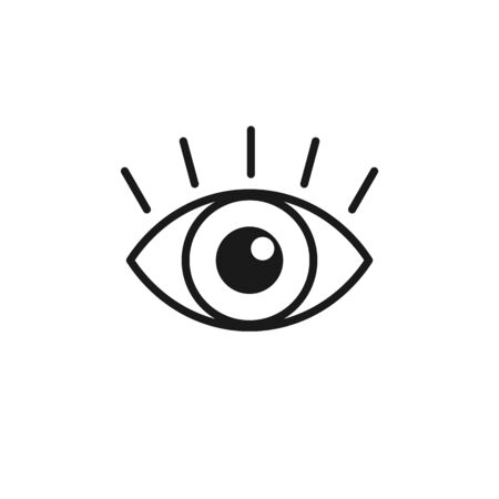 Black isolated line icon of eye with eyelash on white background. Icon of open eye. Vision Illustration