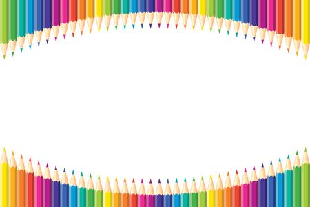 Horizontales Muster. Satz von isolierten Buntstiften angeordnet Bogen mit Kopie Platz für Hinweis, Text, auf weißem Hintergrund Regenbogenfarben. Heller Druck.