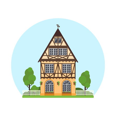 Isolated colored half timbered building on white background. Flat facade of european framing house, cottage. Colorful rural house with trees on blue sky background
