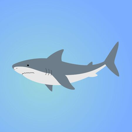 Isolated shark on blue background. Sea animal, fish. Colorful shark in blue ocean Illustration