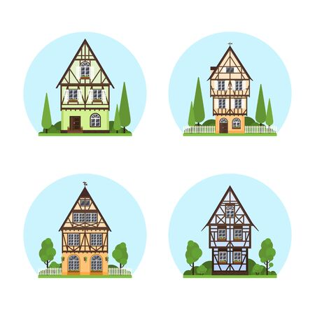 Set of Isolated colored half timbered buildings on white background. Flat facade of european framing house, cottage. Colorful rural house with trees on blue sky background.