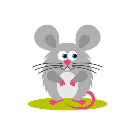 Isolated cartoon sitting gray mouse on white background. Colorful frendly mouse. Animal funny personage. Flat design