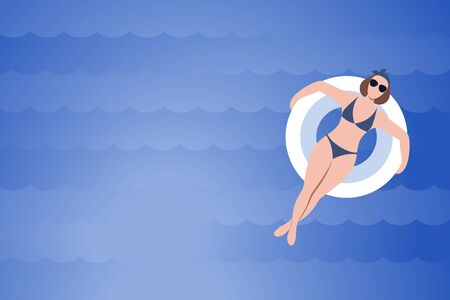 Woman with rubber ring on blue waves background. Beautiful girl swim in ocean, sea, pool. Marine background with copy space. Vacation, tourism, relax banner. Flat design Illustration