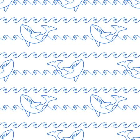 Seamless abstract marine pattern. Blue outline orca whale and blue line waves on white background. Killer whale in ocean, animal print. Illustration
